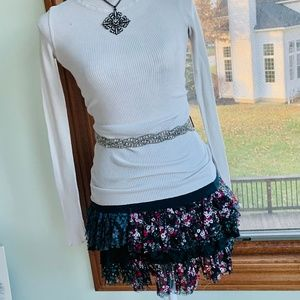 FREE PEOPLE FLORAL MINI-SKIRT , TOP, NECKLACE ,XS
